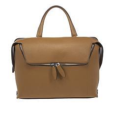 """As Is"" Danielle Nicole Large Zipper Pocket Leather Satchel"