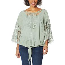 """""""As Is"""" Democracy 2-piece Tie-Front Crochet Top with Camisole"""