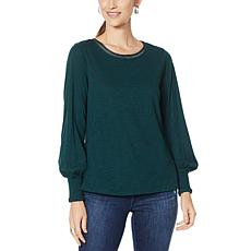 """""""As Is"""" Democracy Smocked Cuff Knit Layer Top"""