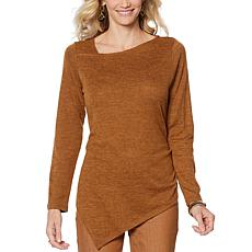 """""""As Is"""" DG2 by Diane Gilman Asymmetric Brushed Knit Tunic Top"""