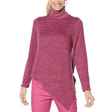 """As Is"" DG2 by Diane Gilman Asymmetric Hem Turtleneck Sweater"