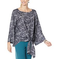 """""""As Is"""" DG2 by Diane Gilman Charmeuse Tie-Front Blouse"""