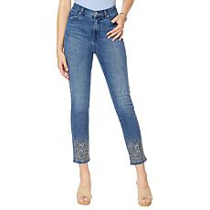 """As Is"" DG2 by Diane Gilman Embellished Skinny Ankle Jean    - Basic"