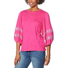 """""""As Is"""" DG2 by Diane Gilman Embroidered Balloon-Sleeve Tee"""