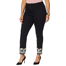 """""""As Is"""" DG2 by Diane Gilman Embroidered Hem Cropped Jean  - Basic"""