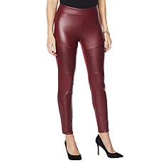 """""""As Is"""" DG2 by Diane Gilman Faux Leather and Ponte Moto Legging"""