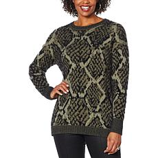 """As Is"" DG2 by Diane Gilman Jacquard Knit Animal Sweater"