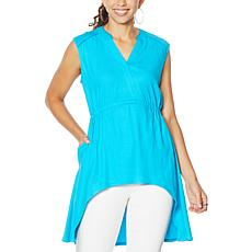 """""""As Is"""" DG2 by Diane Gilman Linen-Blend Sleeveless Hi-Low Tunic"""
