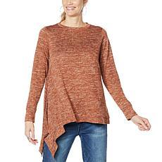 """As Is"" DG2 by Diane Gilman Metallic Knit Asymmetric Sweater"