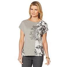 """As Is"" DG2 by Diane Gilman Mixed Media Embroidered Tee with Front ..."