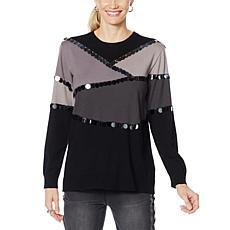 """As Is"" DG2 by Diane Gilman Paillette Colorblock Sweater"