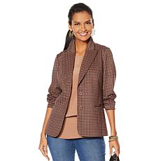 """As Is"" DG2 by Diane Gilman Ponte Knit Boyfriend Blazer"