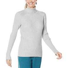 """""""As Is"""" DG2 by Diane Gilman Quad Blend Ribbed Turtleneck Sweater"""