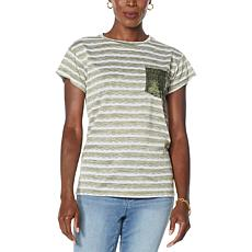 """""""As Is"""" DG2 by Diane Gilman Sequin Pocket Striped Tee"""