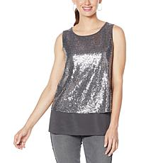 """As Is"" DG2 by Diane Gilman Sequined Easy Tank"