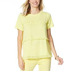 """""""As Is"""" DG2 by Diane Gilman Short-Sleeve Tiered Crochet Ruffle Top"""