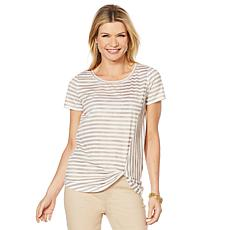 """As Is"" DG2 by Diane Gilman Striped Print Knotted Tee"