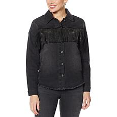 """As Is"" DG2 by Diane Gilman Studded Fringe Jacket"