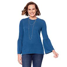 """""""As Is"""" DG2 by Diane Gilman Tri-Blend Open Back Bell-Sleeve Top"""