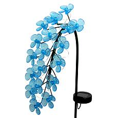 """As Is"" Exhart Solar LED Spinning Flowers Garden Stake"