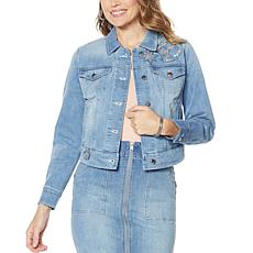 """As Is"" G by Giuliana Downtown Denim Jacket with Beaded Patches"