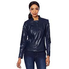 """""""As Is"""" G by Giuliana Faux Leather Embroidered Moto Jacket"""