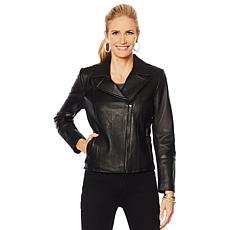 """As Is"" G by Giuliana Genuine Leather Moto Jacket"