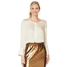 """As Is"" G by Giuliana Hammered Satin Blouse"