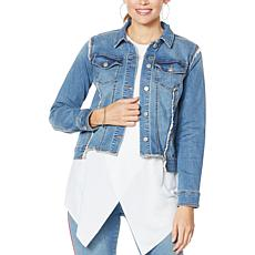 """As Is"" G by Giuliana Neon Piped Denim Jacket"