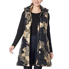 """As Is"" G by Giuliana Printed Puffer Vest with Hood"