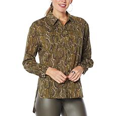 """As Is"" G by Giuliana Snake-Print Button-Front Shirt"
