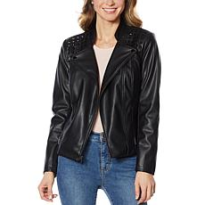 """As Is"" G by Giuliana Studded Faux Leather Moto Jacket"