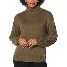 """""""As Is"""" G by Giuliana Textured-Sleeve Turtleneck Sweater"""