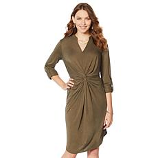 """As Is"" G by Giuliana Twist-Front Knit Shirt Dress"
