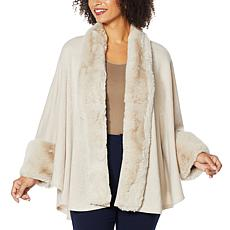 """""""As Is"""" Heidi Daus Sweater Knit Topper with Faux Fur Trim"""