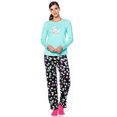 """As Is"" HUE 2pc Whimsical Print Pajama Set with Socks - Plus"