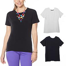 """As Is"" IMAN City Chic 2-pack Tee with Necklace"