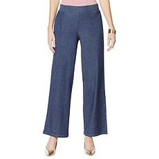 """""""As Is"""" IMAN City Chic Denim Palazzo Pant with Smocked Waist"""