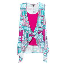 """""""As Is"""" IMAN City Chic Scarf Vest with Tank"""