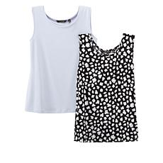 """""""As Is"""" IMAN Global Chic 2-pack Tanks in Solid and Print"""