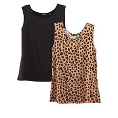 """As Is"" IMAN Global Chic 2-pack Tanks in Solid and Print"