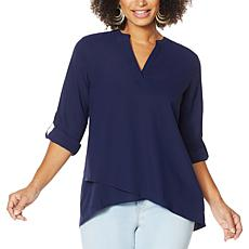 """As Is"" IMAN Global Chic Asymmetric Y-Neck Top"