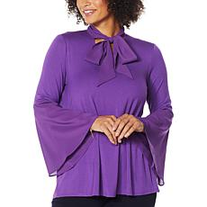 """As Is"" IMAN Global Chic Bell Sleeve Tie-Neck Top"