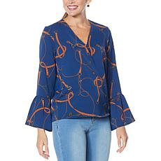 """As Is"" IMAN Global Chic Bell-Sleeve Wrap Top"