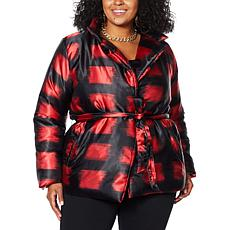 """As Is"" IMAN Global Chic Belted Puffer Jacket"