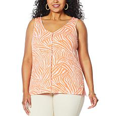 """As Is"" IMAN Global Chic Button Front Print/Solid Reversible Tank"