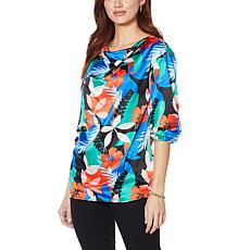"""""""As Is"""" IMAN Global Chic Cowl-Neck Woven Top with Tie Sleeves"""