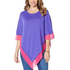 """As Is"" IMAN Global Chic Knit Poncho with Chiffon Trim"