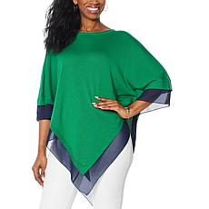 """""""As Is"""" IMAN Global Chic Knit Poncho with Chiffon Trim"""