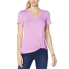 """As Is"" IMAN Global Chic Knot-Front V-Neck Tee"